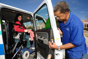 Woman on lift in Van