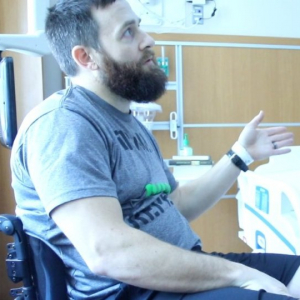Man in hospital room