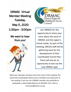 Member meeting - May 5th - 1:30 to 3:00pm - contact Malia: mmunson@drmac-co.org