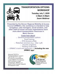 Transportation Options Workshop flyer