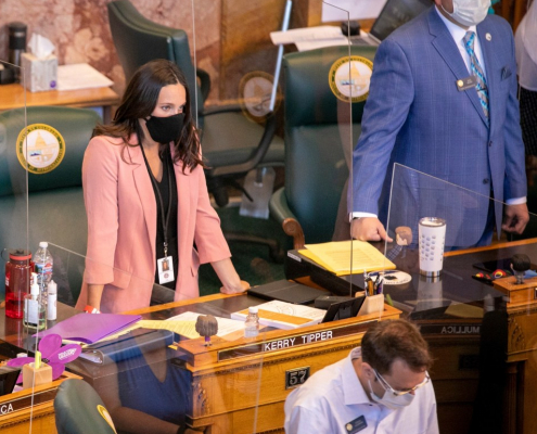 Legislature wearing masks