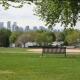 Bench in park overlooking Denver